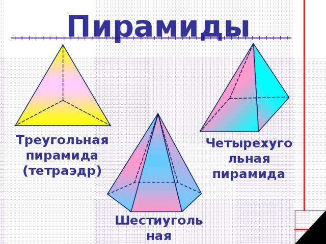 Пирамиды - треугольная, четырехугольная, шестиугольная
