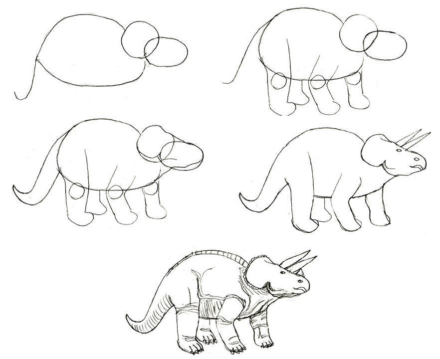 легкие рисунки динозавров карандашом настолько востребована