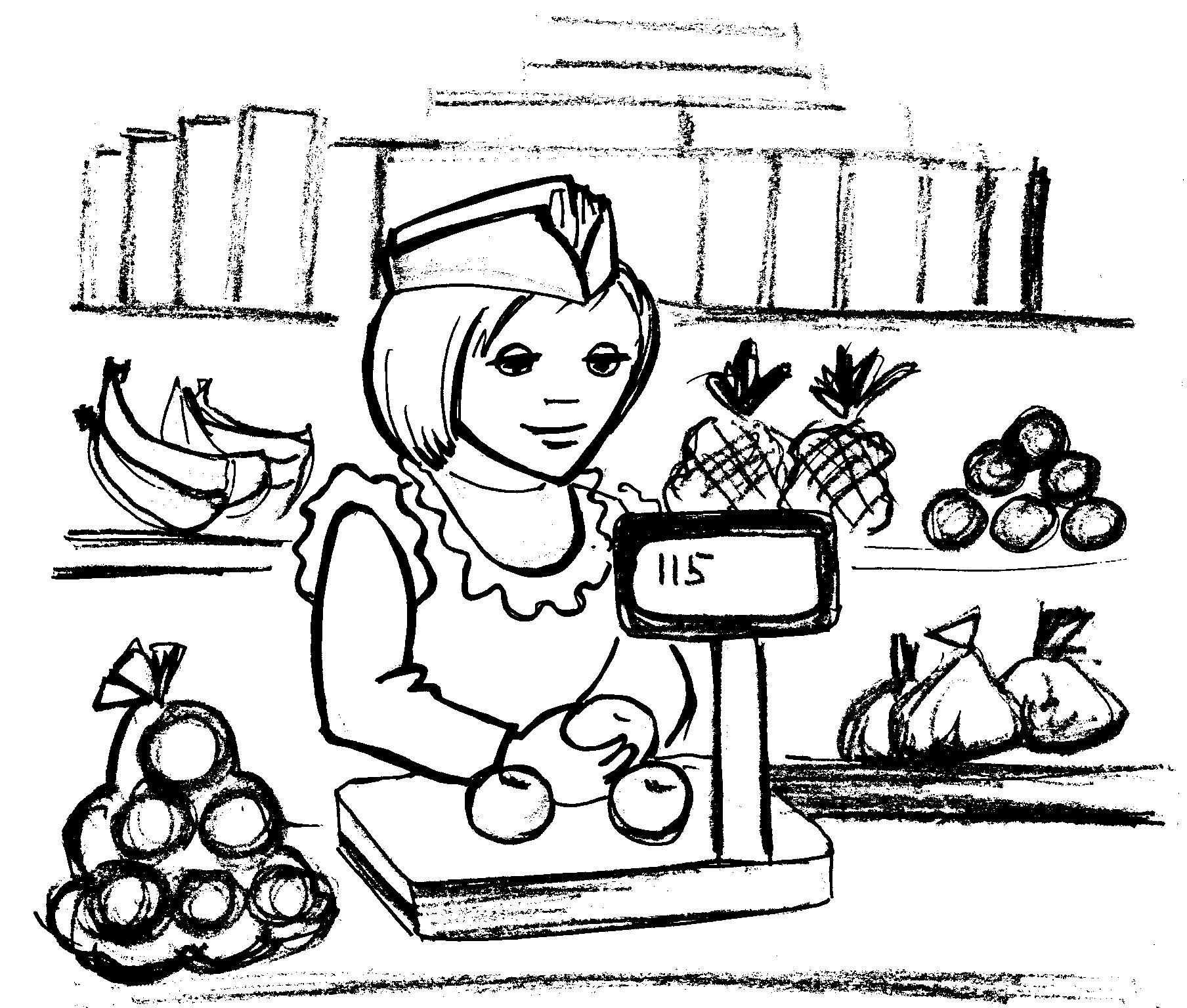 Картинка раскраска продавец для детей