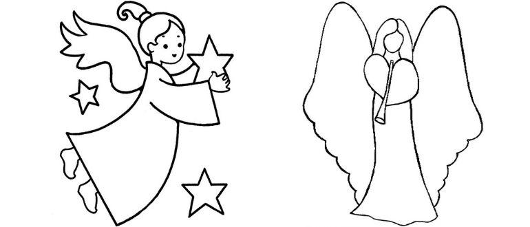 Открытка к Рождеству «Ангелочек» по шаблонам