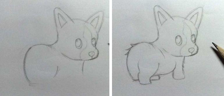 нарисовать собаку карандашом для детей